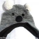 BEAR EAR Knit BEANIE Cap hat womens One Size Gray Blk Braids plush knit Costume