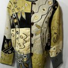 INDIGO MOON Tapestry Jacket women M Gray Tan Black SilverFloral metallic Toggles