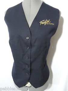 Nwot FAIRFIELD SEA GARDENS Uniform Vest womens M Blue embroidered Suit style