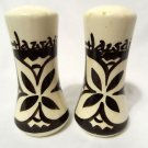 HAWAII Polynesian Salt & Pepper Shakers Ivory Brown ceramic Pottery Lotus flower