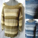 Nwt DEBBIEMORGAN Sweater top women ML Brown Blue Boho stripe Tunic crochet scoop