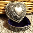 Decorative SILVERtone TRINKET Jewlery BOX Heart Shaped scroll design Felt lined