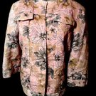 ALFRED DUNNER Career Suit Jacket womens 14P Pink Gray Floral spring Summer wear