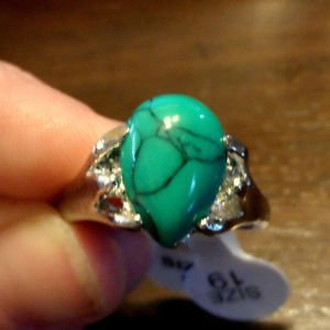 Nwt Jaded Turquoise (Resin epoxy) Fashion Rings womens Silvertone Marbled green