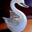 """SWAN Blown Glass Sculpture Figurine Trinket 4.5"""" Clear White Iridescent Pink"""