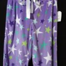 Nwt STARS Minky Fleece SweatPants ML Purple Blue Elastic & drawstring WarmWinter