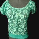 Nwt DEB All Lace Dressy blouse Top juniors S Turquoise White Floral sheer blouse