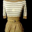 Nwt NARANKA Boho Belted top ML Taupe White stripe Sailor T-shirt BoatNeck blouse