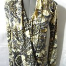 New VAVA VOOM JEANS V neck Wrap Look Top S Blue Ivory Gold Blouse Long Sleeve