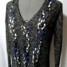 Nwt KENSIE Plush Cable knit Sweater Top womens S Black Gray V neck Dual blend LS
