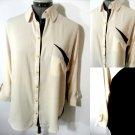 New MINE Custom Dyed Pocket Shirt Top women M Pink Black button up blouse LongSl
