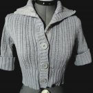 COPPER KEY Cardigan Shrug Sweater Girl M Gray Ribbed knit ButtonUp Cuffed sleeve