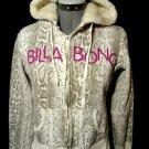 BILLABONG Hoodie Sweatshirt M Ivory Brown Snakeskin SurfSkater jacket coat Beach