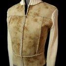 PHOSPHORUS Suede & Wool Sweater women Sm Ivory Brown Full Zip Up Western wear LS
