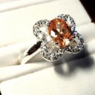 New Silver 925 PEACH CITRINE Solitaire Ring sz 7 Clover Leaf Oval Brilliant GIFT