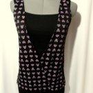 New LIQUID PARTY Halloween Skulls Hearts T-shirt top Small Black Purple Lace Bac