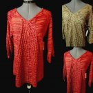 Nwt FG Tunic Crochet Sweater top SL Brown Red V neck SemiSheer Spring BellSleeve