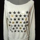 Nwt STYLE TREE Stars Off-Shoulder Sweatshirt Top womens SM Oatmeal Gray scoop nk