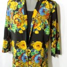 Nwt JOANNA 2-fer Twinset Top SM Roses Floral twinset Blouse Scoop Career Shirt