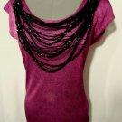 Nwt TRIXI Beaded Fringe Drape top SML Pink Black metallic Scoop +Low back blouse