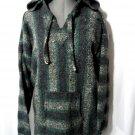 WORLD WAR Rug Hoodie Poncho Sweatshirt M Unisex Teal Gray HEAVY Raggae Marley LS