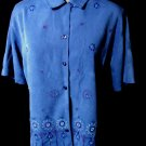 TEDDI Floral Beaded Blouse M Blue Brushed button up shirt Collared short sleeve