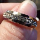 New AUSTRIAN CRYSTAL Mens Band Ring 8,9,9.25,9.5,10.5 Stainless Steel 6mm width