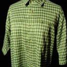 RED HEAD western Shirt men M Green White Checkered Pocket- buttons short sleeve