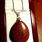 """New GOLDSTONE Peardrop Pendant & Necklace Set 925 Snake chain Rust & Gold 20"""""""