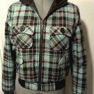 BETTER B. Wool Blend Bomber Jacket SM Pink Blue Brown Plaid Blanket Lined coat