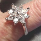 New AUSTRIAN CRYSTAL 925 Silver Flower Ring 7 MARQUISE CUT x4 & Round cut 4 Gift