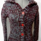 FRENCHI Wool Sweatercoat Cardigan Sm Burgundy Blue button up Wide collar Heavy