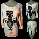 New RUE 21 Cross Tiger Zipper T-shirt womens SM Peach Blue Gray Tie dyeTunic LS