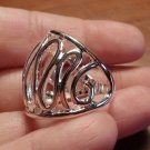 New SWIRL CAGE Artsy Ring sz 8 Silvertone Jewelry Wide face Modern design Boho