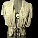 Nwt LOVE ON A HANGER Ruffled Cardigan Shrug XS Brown melange Peplum Sweater Boho