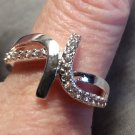 New 925 SILVER Eternity style Band Ring sz 7.5 Austrian Crystals Modern design