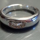 New 925 sp AUSTRIAN CRYSTAL Heart Band Ring sz 8 Traditional Promise Jewelry
