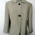 WORTHINGTON Peter Pan Blazer Jacket womens 14 Black White Checkered suit coat