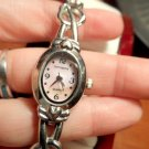 INC CONCEPTS Silvertone Heart Band Wrist watch Pink PEARLED face NEW BATTERY