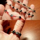 4 piece set HAND CRAFTED Bracelets & ThumbRing Hematite & Glass beads Americana