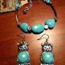Faux TURQUOISE OWL Earring & Bracelet Set Turquoise Silver Tone Boho Indie Teen!