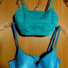 NOBO Lace Bralet Top XS Turquoise & VASARETTE 34A Underwire Padded Bra Blue- Set
