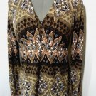 VILLAGER Netting V neck Boho top womens S Brown Pink empire waist Floral Indie