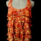 RUE21 Ruffle Flounce Blouse women S Red Khaki Floral cheetah print Scoop nk Tank