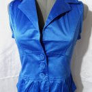 Nwt ASHLEY Fitted Vest junior S L Blue button up V neck Satin sexy bartender HOT