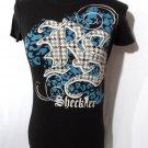 SHECKLER T-shirt womens S Black Blue Checkered Graphic Punk Skater Short Sleeve