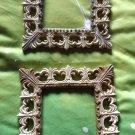 "2 ANTIQUED VICTORIAN Fleurish Frames 6.5"" Ivory Gray Bronze Decor decorative Art"