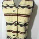 WRANGLER Fleece Vest womens S Southwestern V neck Beige Burgundy Rodeo Cowgirl