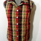 CHRISTOPHER & BANKS Quilted Snap Up Vest women M Red Black Pink Plaid Sleeveless