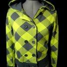 NOLLIE PacSun Hoodie Jacket womens S Neon Lime Gray plaid Sweatshirt Full ZipUp